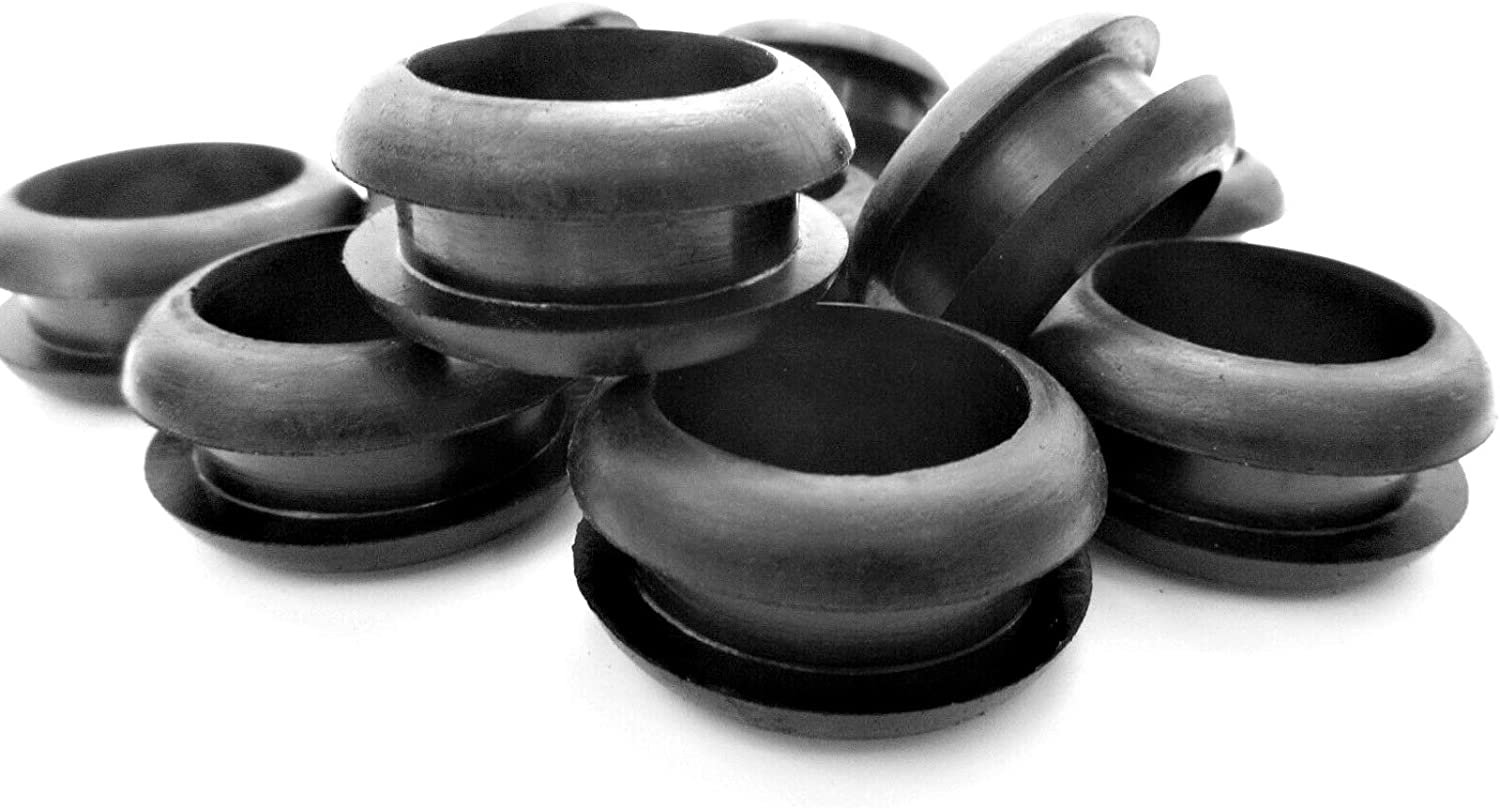 "Rubber Grommets for 1"" Panel Hole - 3/4 ID x 1 1/4"" OD, Fits 1/4 Panel - SBR Rubber Grommet Black Rubber Grommet Round Rubber Grommet (10)"