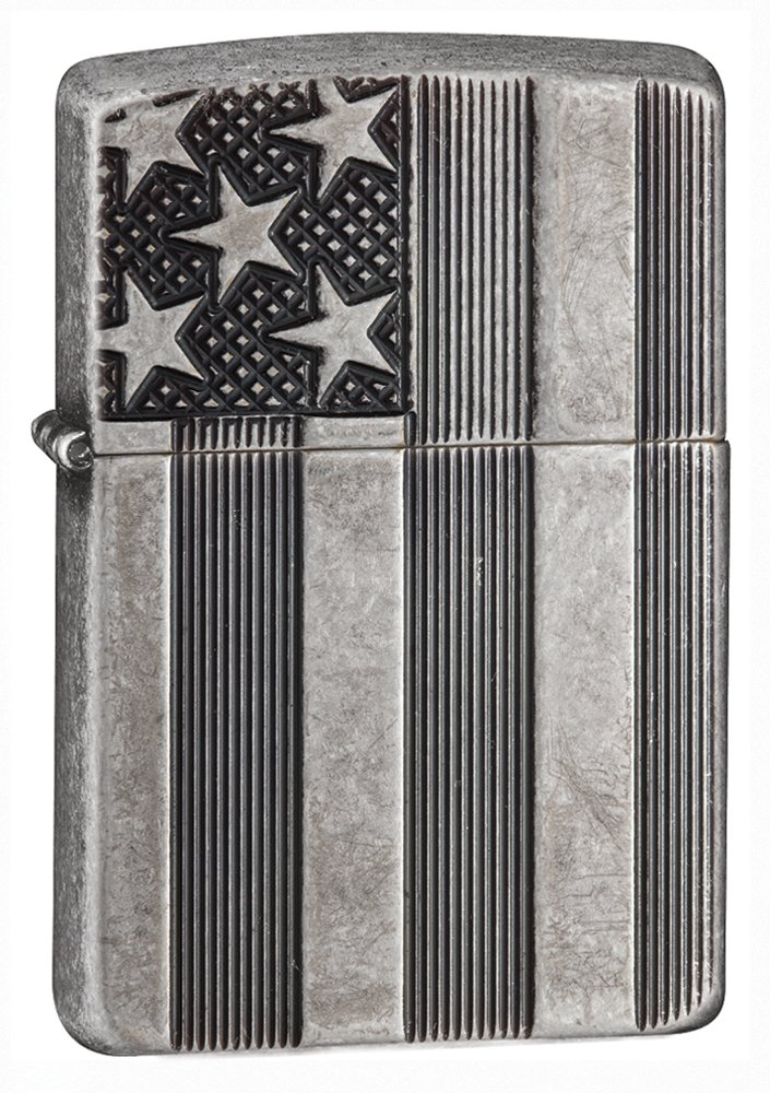 Zippo Armor American Flag Pocket Lighter, Antique Silver Plate