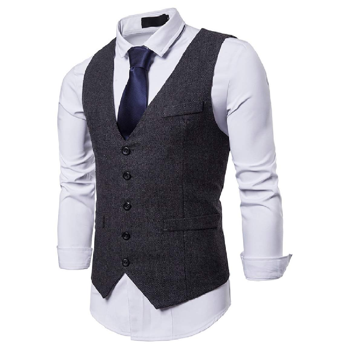 Nicelly Mens Stylish Trim-Fit Autumn Single-Breasted Casual Premium Suit Vest