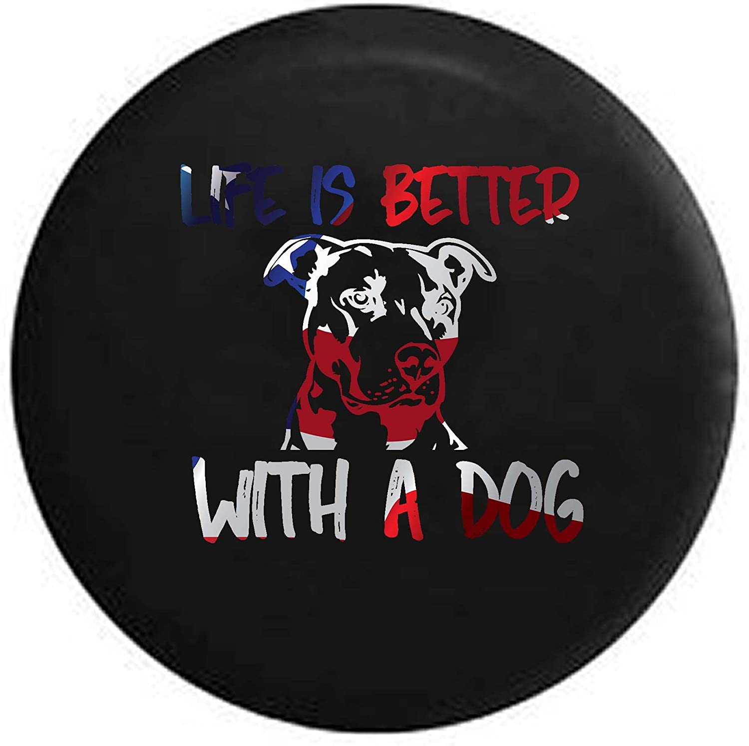 Life is Better with a Dog Pitbull Pit Bully Breed Lab Mutt Mix K9 Spare Tire Cover OEM Vinyl Black 27.5 in Pike Outdoors Flag