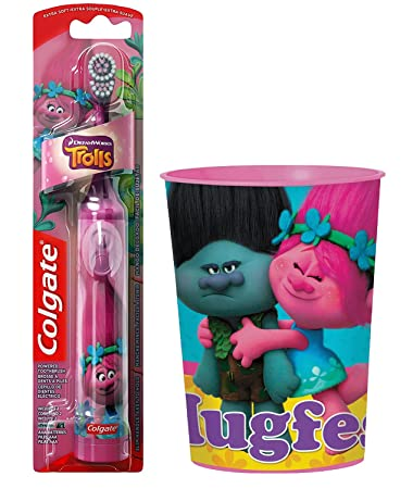 Amazon.com: Trolls Poppy Toothbrush Bundle: 2 Items - Colgate Powered Toothbrush, Character Rinse Cup: Beauty
