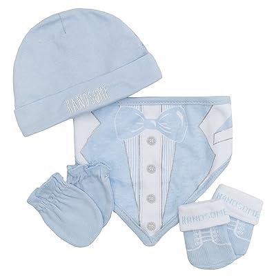 Babytown Baby Boys and Girls 4 Piece Novelty Hat Gloves Bib Socks Gift Set