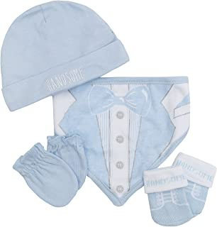 Babytown Baby Boys and Girls 4 Piece Novelty Hat Gloves Bib Socks Gift Set