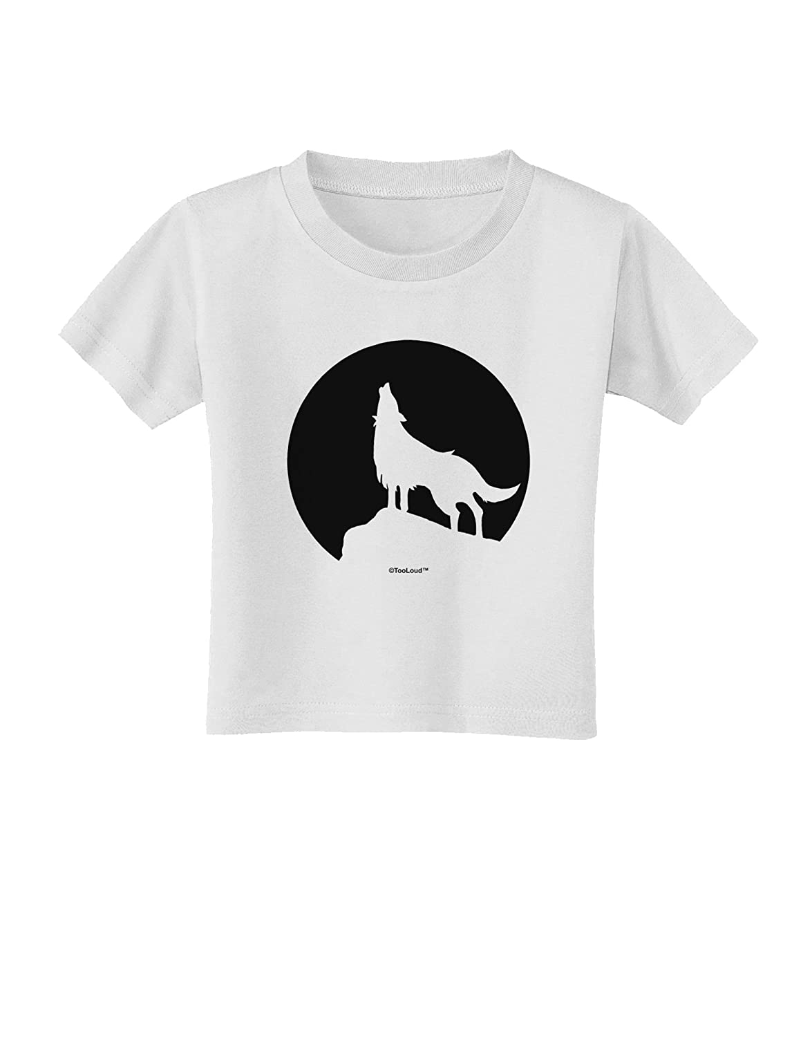 TooLoud Wolf Howling at The Moon Design #1 Toddler T-Shirt