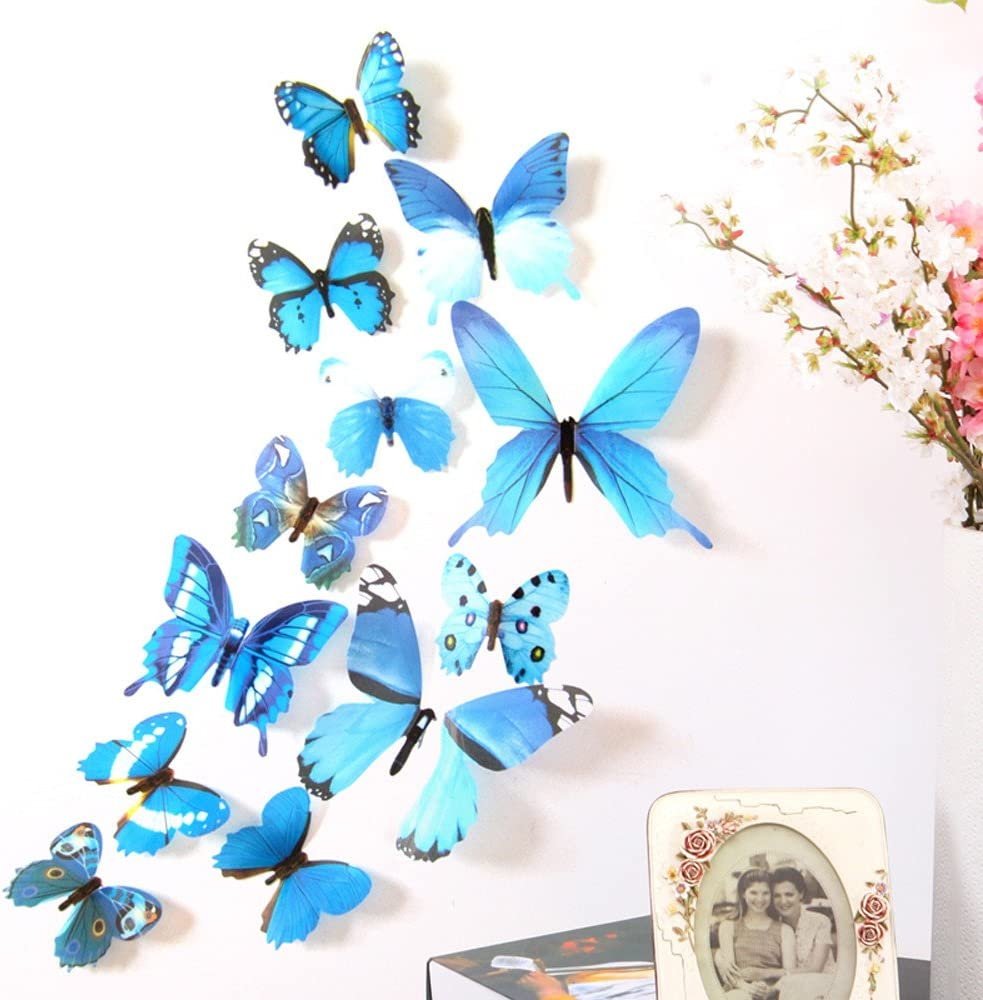 24Pcs Butterfly Wall Decor,3D Butterflies Wall Stickers Removable Mural Decals Zuhause Decoration Kids Zimmer Bedroom Decor (Blue)