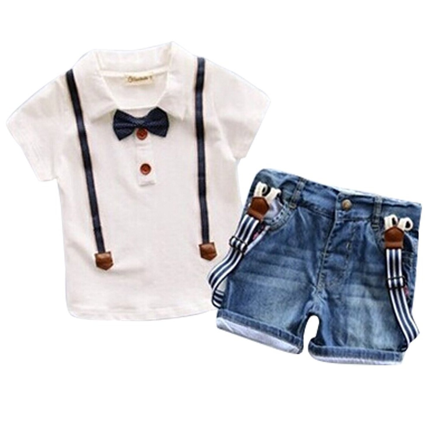 e9b8263da Short Sleeve Shirt With Bow Tie And Suspenders