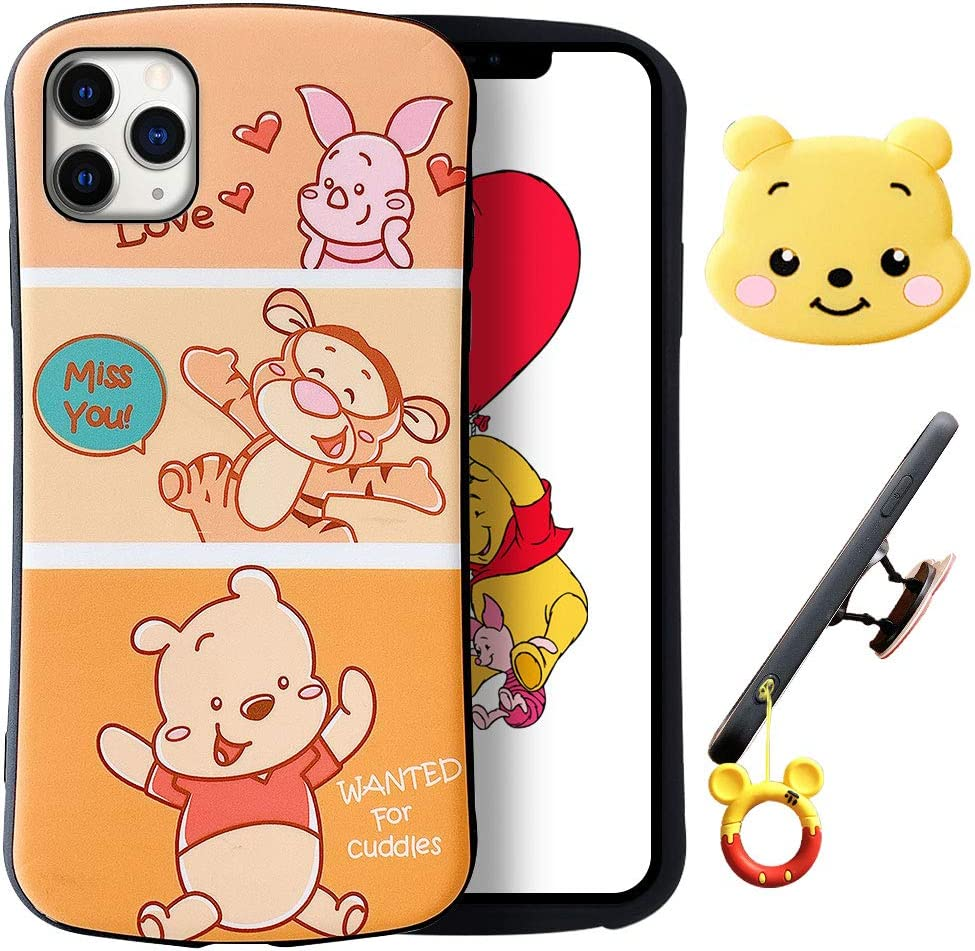 XGrand Disney Collection Winnie Pooh Cute Cartoon Case for iPhone 11 Pro, Style Pattern Small Waist Design Kickstand Holder Stand Shockproof Protective Cover for Kids Teens Girls Boys(iPhone 11 Pro)
