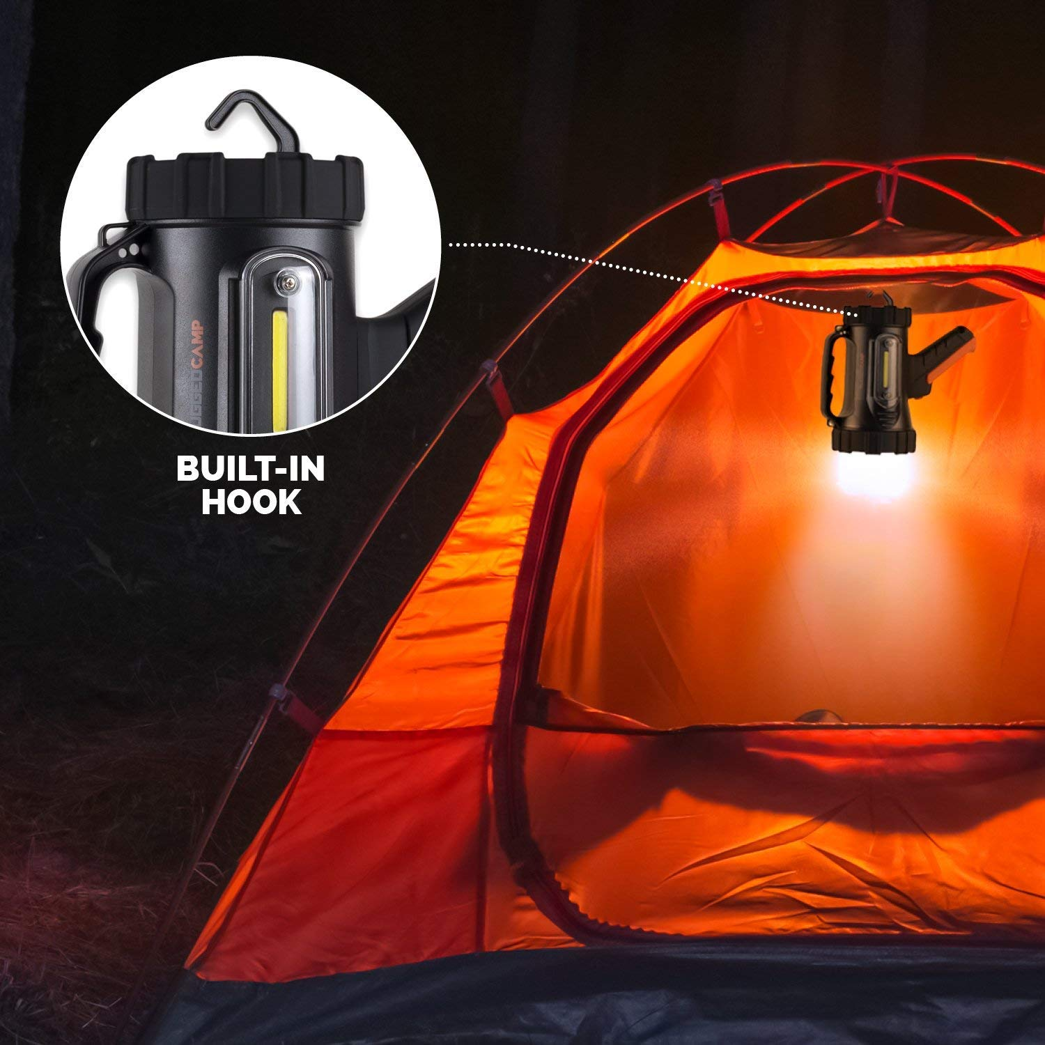 Rugged Camp Titan X10 Rechargeable Spotlight - 1000 Lumens - High Powered 10W LED Bright Flashlight - Work Light & Tripod - Perfect for Camping, Hiking, Hunting, Emergencies & Outdoors (Black/Orange) by Rugged Camp (Image #8)