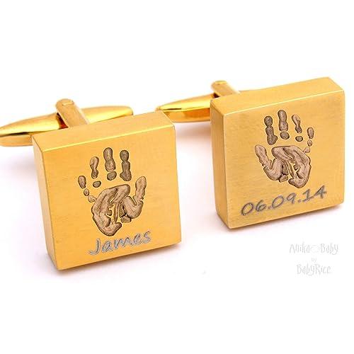 Reloj de oro cuadrado personaliseitonline mancuernas de huella de bebé: Amazon.es: Joyería
