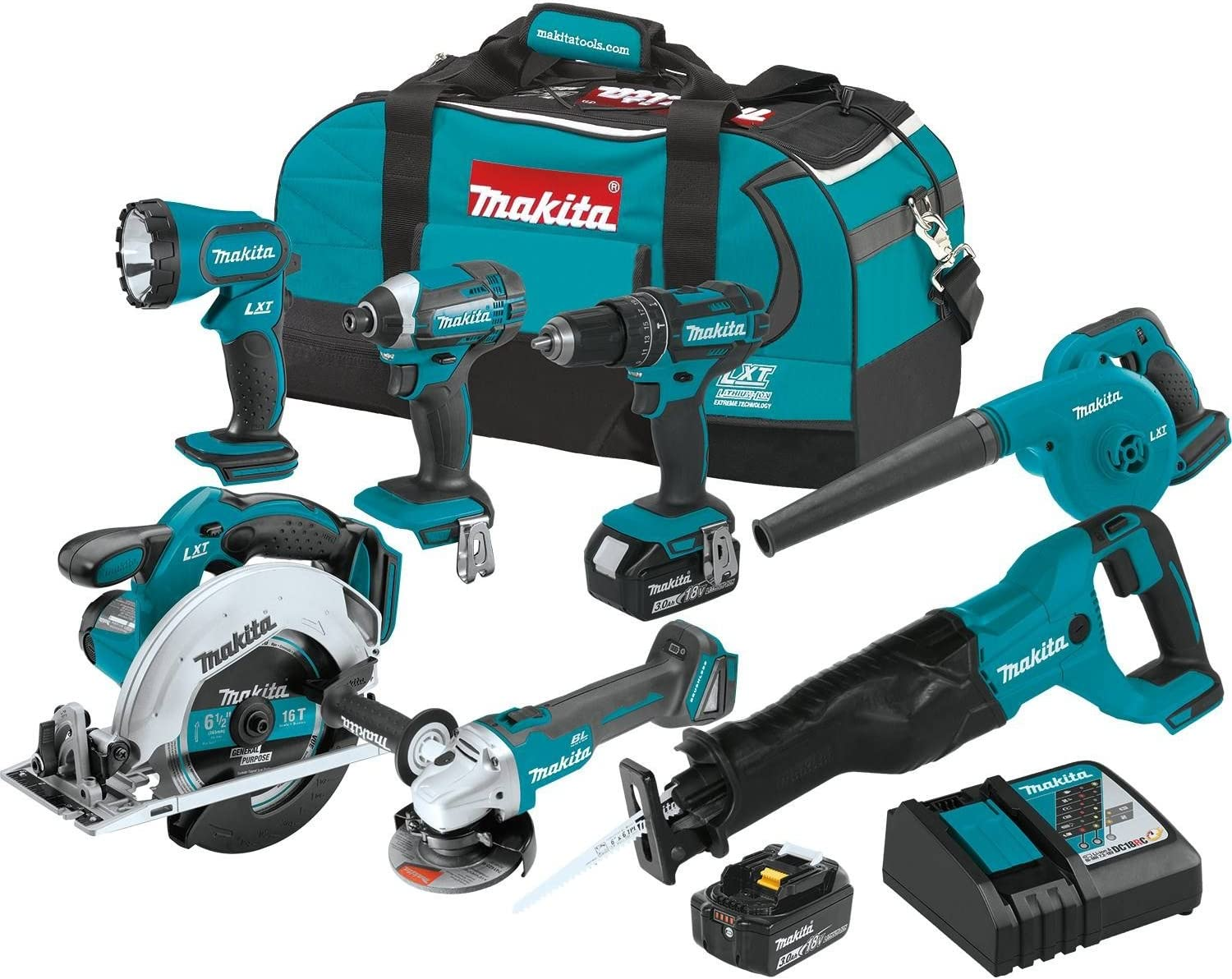 Makita XT706 3.0Ah 18V LXT Lithium-Ion Cordless Combo Kit 7 Piece