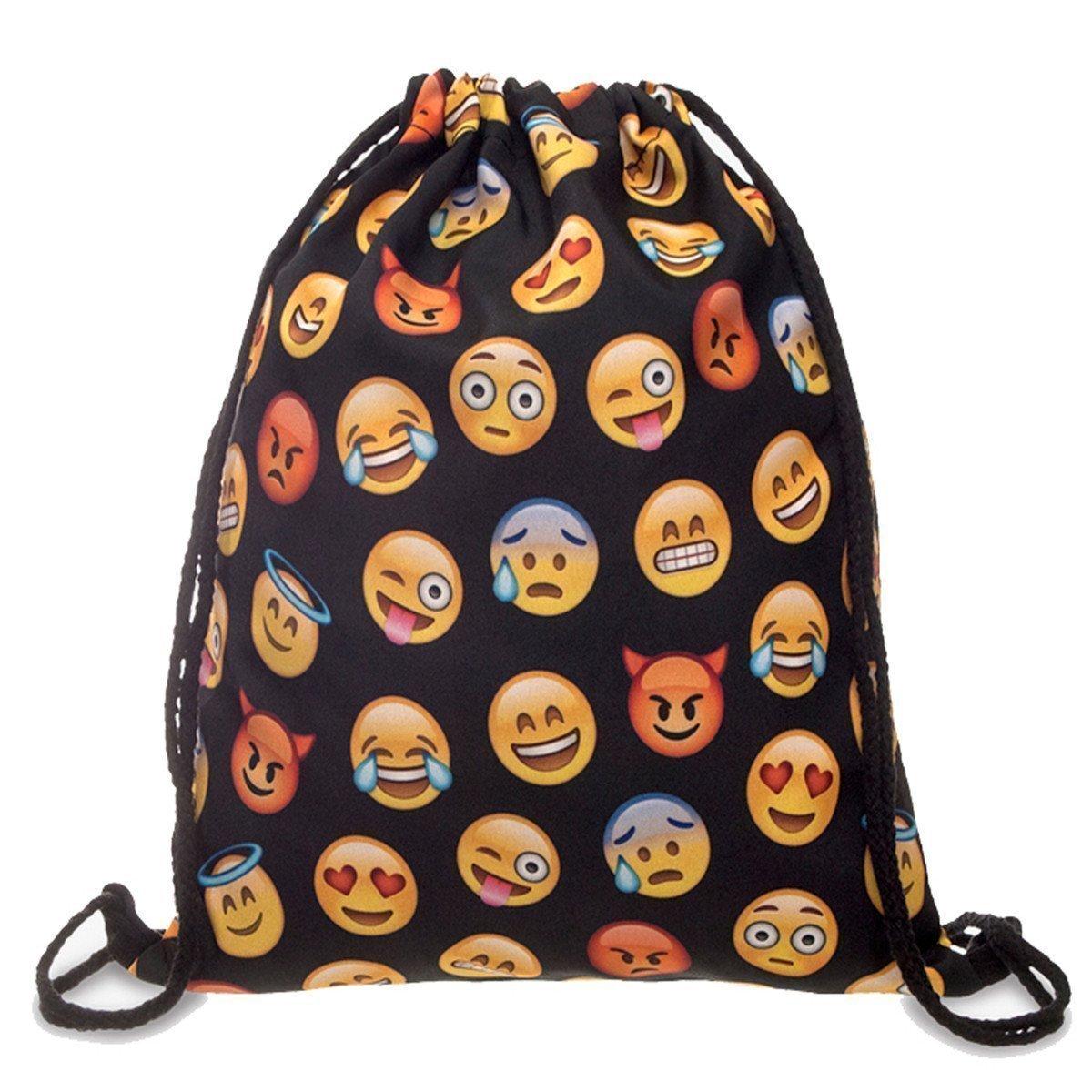 Switty Nouveau QQ Impression Emoji Sac à dos en toile Voyage Satchel mignon école Rucksack Gril