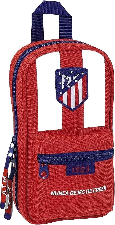 Atletico De Madrid - Plumier mochila con 4 portatodos llenos de atletico de madrid (Safta 411758747): Amazon.es: Equipaje