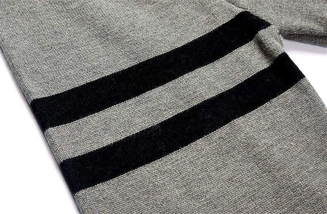 XTX Men Stylish Stripe Slim Pullover Turtleneck Color Block Knit Sweater