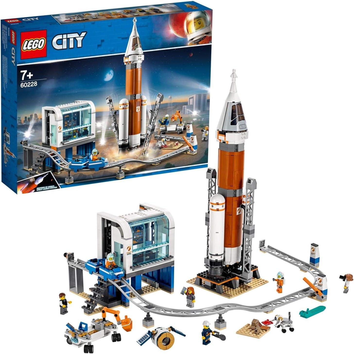 LEGO City Space Port - Cohete Espacial de Larga Distancia y Centro de Control, Juguete de Construcción Inspirado en la NASA con Minifiguras de Científicos y Astronautas, Expedición a Marte (60228)