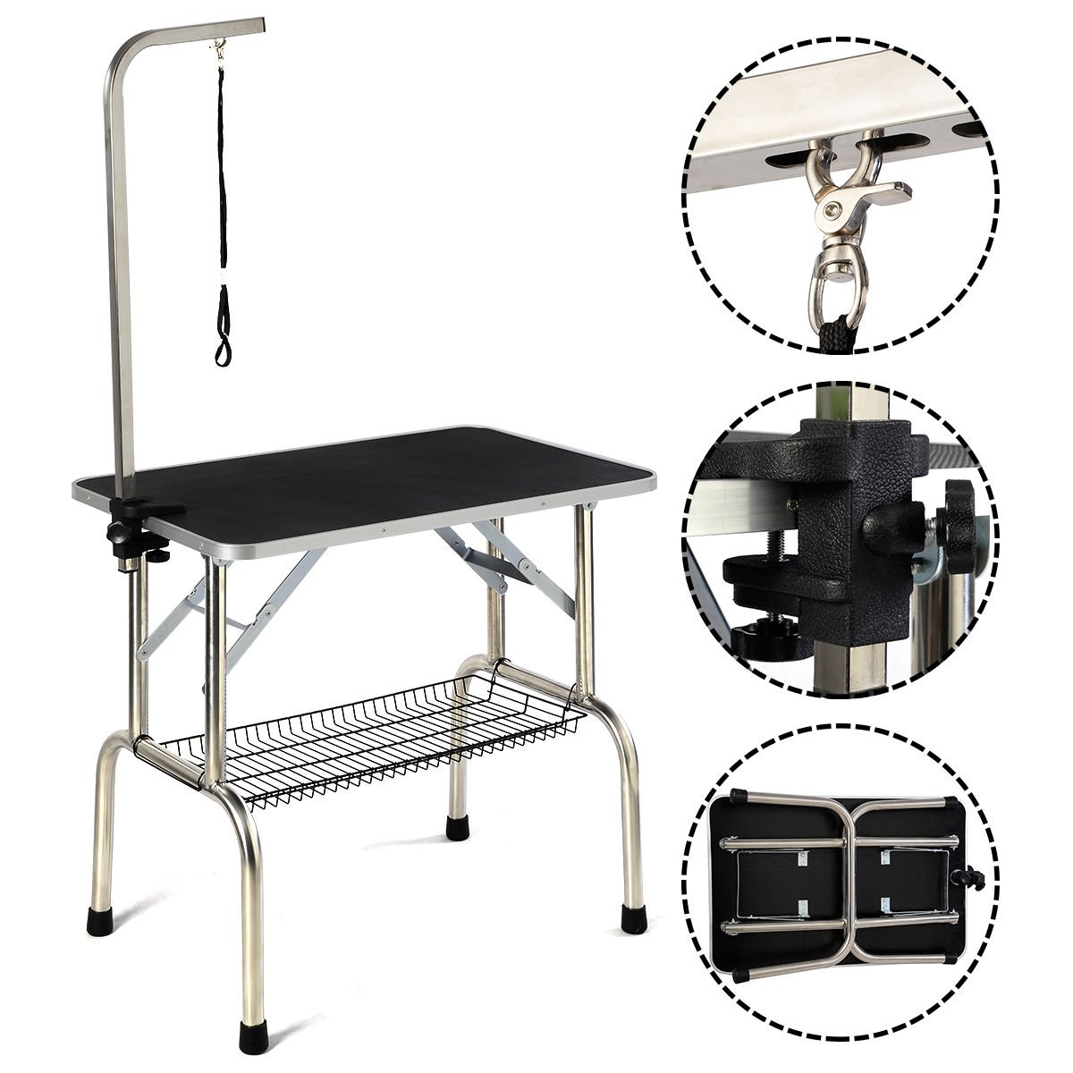 32'' Large Portable Pet Dog Cat Grooming Table Dog Show W/Arm &Noose & Mesh Tray by tamsun