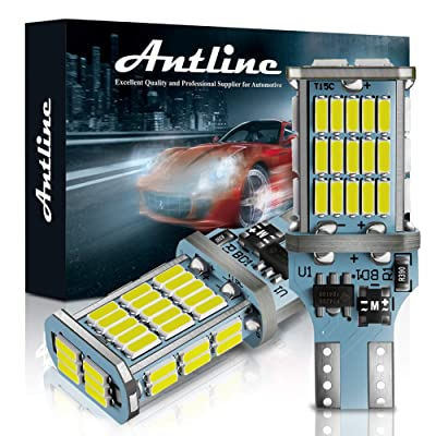 ANTLINE Extremely Bright 921 912 906 T15 W16W LED Bulb White, CANBUS 48-SMD 4014 Chipsets 1300 Lumens LED Replacement for Car Backup Reverse Center High Mount Stop Light Bulbs(Pack of 2): Automotive
