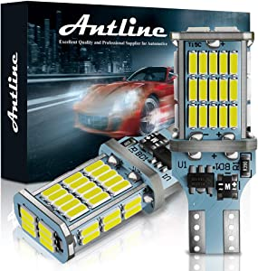ANTLINE Extremely Bright 921 912 906 T15 W16W LED Bulb White, CANBUS 48-SMD 4014 Chipsets 1300 Lumens LED Replacement for Car Backup Reverse Center High Mount Stop Light Bulbs(Pack of 2)