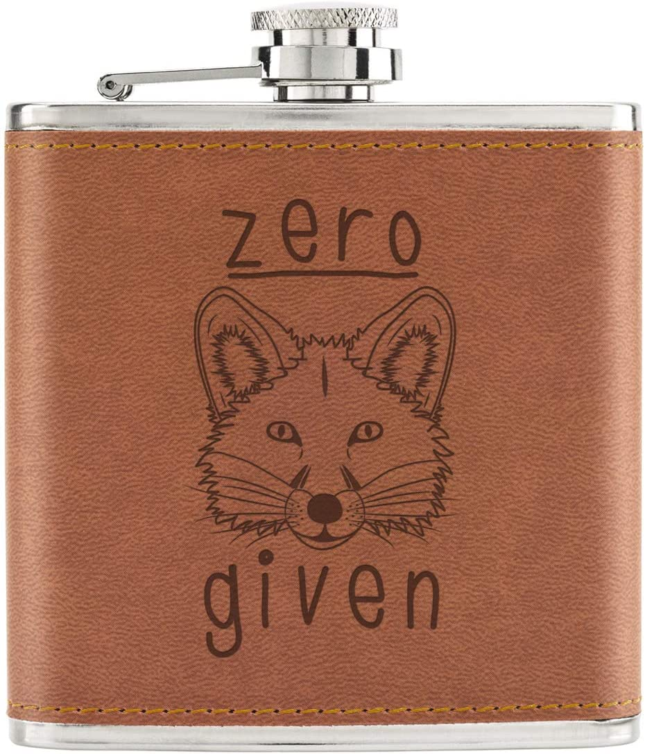 Zero Fox Given 6oz PU Leather Hip Flask Tan