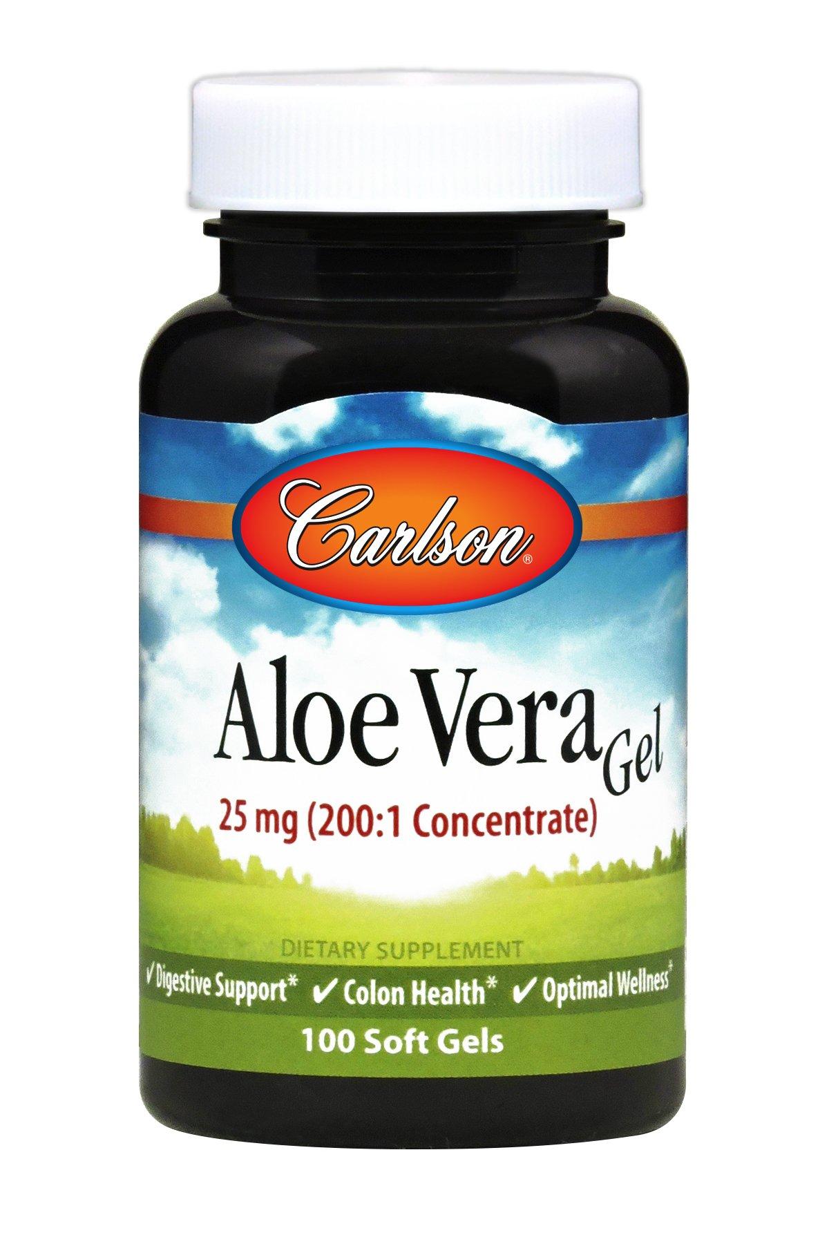 Carlson Aloe Vera Gel 25 mg, 200 to 1 Equivalent to 5,000 mg, 100 Soft Gels