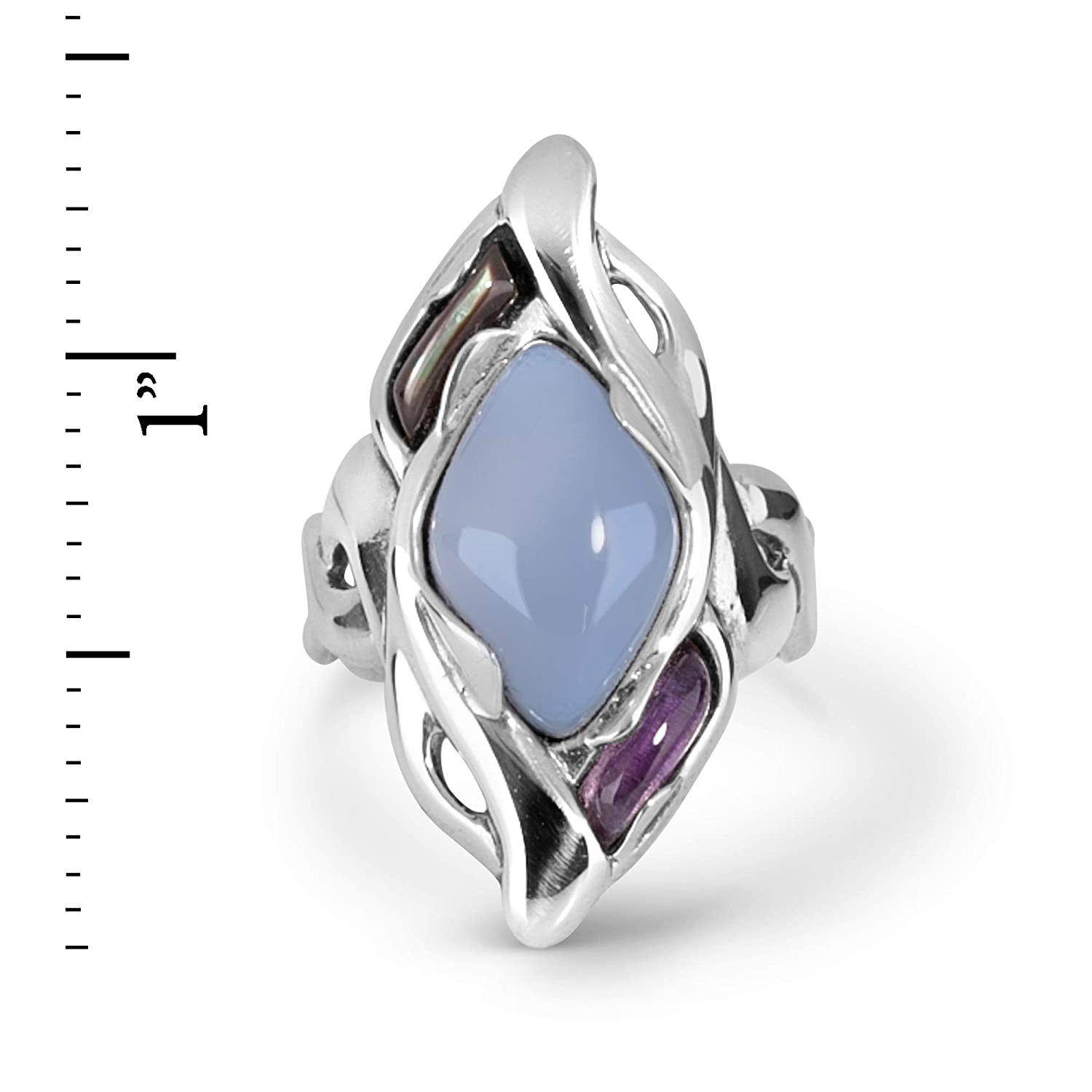 Carolyn Pollack Sterling Silver Size 5 to 10 Chalcedony Gemstone Shades of Gray Ring