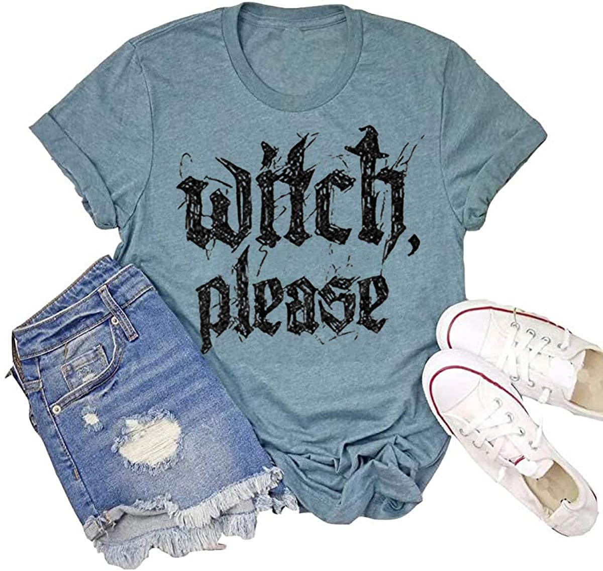 kfulemai Womens Halloween T-Shirt Funny Short Sleeve Witch Please Graphic Tees Tops
