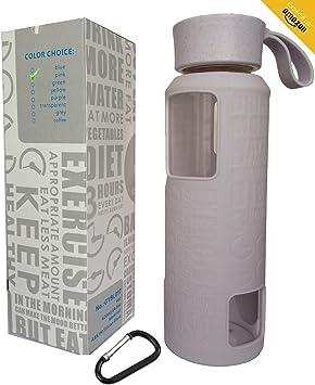 Arenamar - Botella de agua de cristal antideslizante, funda de silicona, color gris con vidrio borosilicato, respetuoso con el medio ambiente, sin BPA, PVC, plástico y plomo (gris), morado: Amazon.es: Deportes y