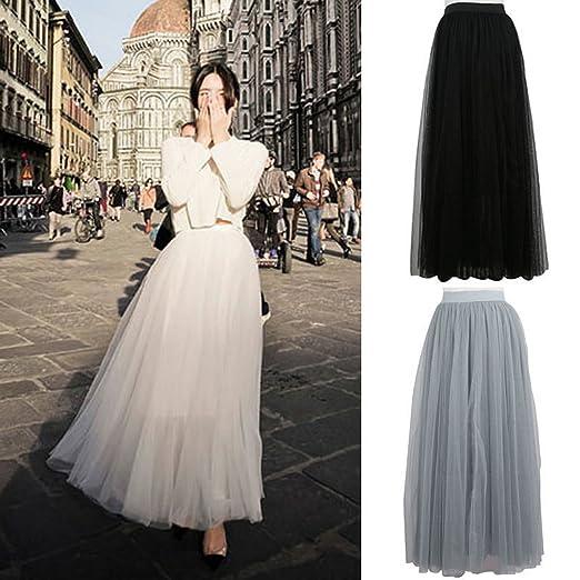 713a33610 Vintage 40's 50's Punk Rockabilly Princess Women Multi Layer Tulle Maxi  Long Tutu Skirt A-