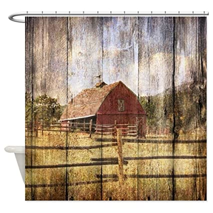 Amazon CafePress Farm Red Barn Decorative Fabric Shower Curtain