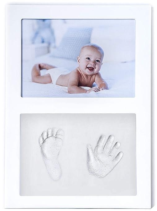 Click & Clay - Marco de Huellas de Mano y Pie para Bebés,Regalo Bautizo Original para Recién Nacido - Blanco