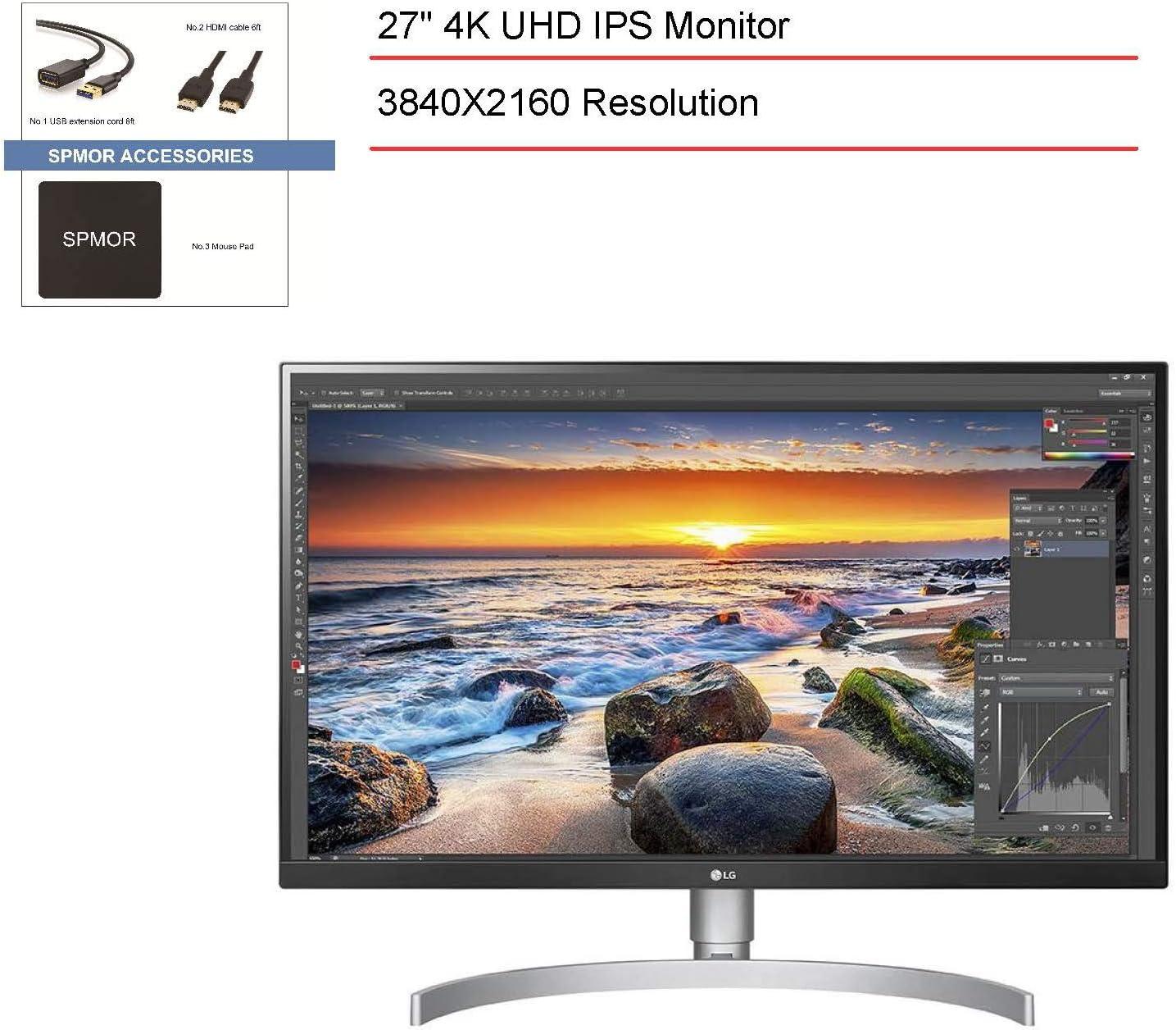 2020 LG Monitor USB tipo C de 27 pulgadas IPS HDR10 UHD 4K (3840 x 2160), pantalla de 3 lados sin bordes antirreflejos 3H, tiempo de respuesta de 5 ms, brillo máximo