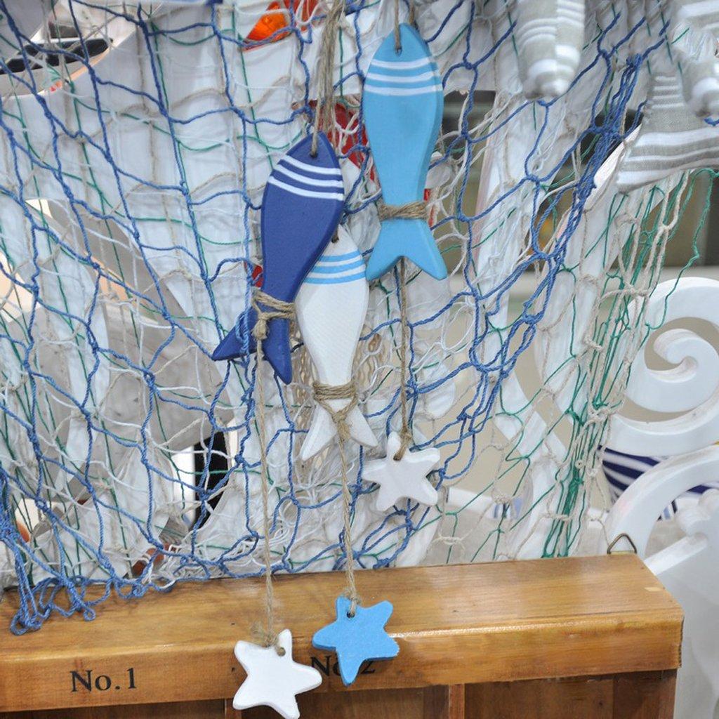 Adorno Colgante N/áutica Peces Tallada Decoraci/ón Muestra para Pared Puerta