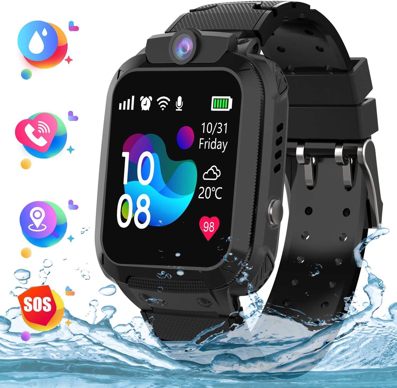 Kids Smartwatch Telefono para Estudiante Niños, IP67 Impermeable Reloj, AGPS/LBS localizador Reloj del Teléfono SOS Chat de Voz Reloj de Cámara, Reloj Inteligente Regalo para Niño Niña, Negro
