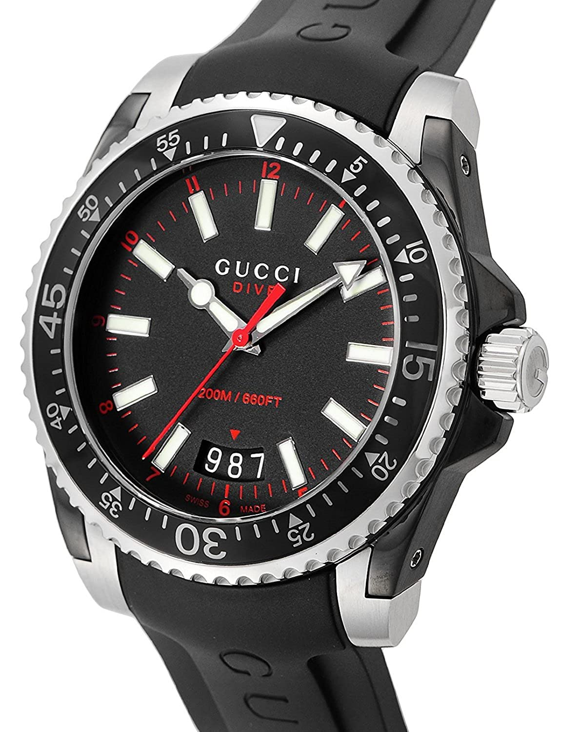 6283db6b5e5 Gucci Dive Stainless Steel Men s Watch with Black Rubber Band YA136303   Amazon.co.uk  Watches