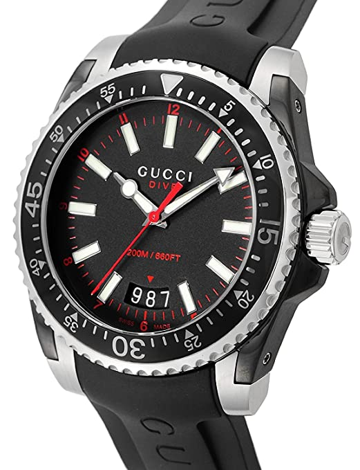 5690ed9795f Amazon.com  Gucci Dive Stainless Steel Men s Watch with Black Rubber Band  YA136303  Watches