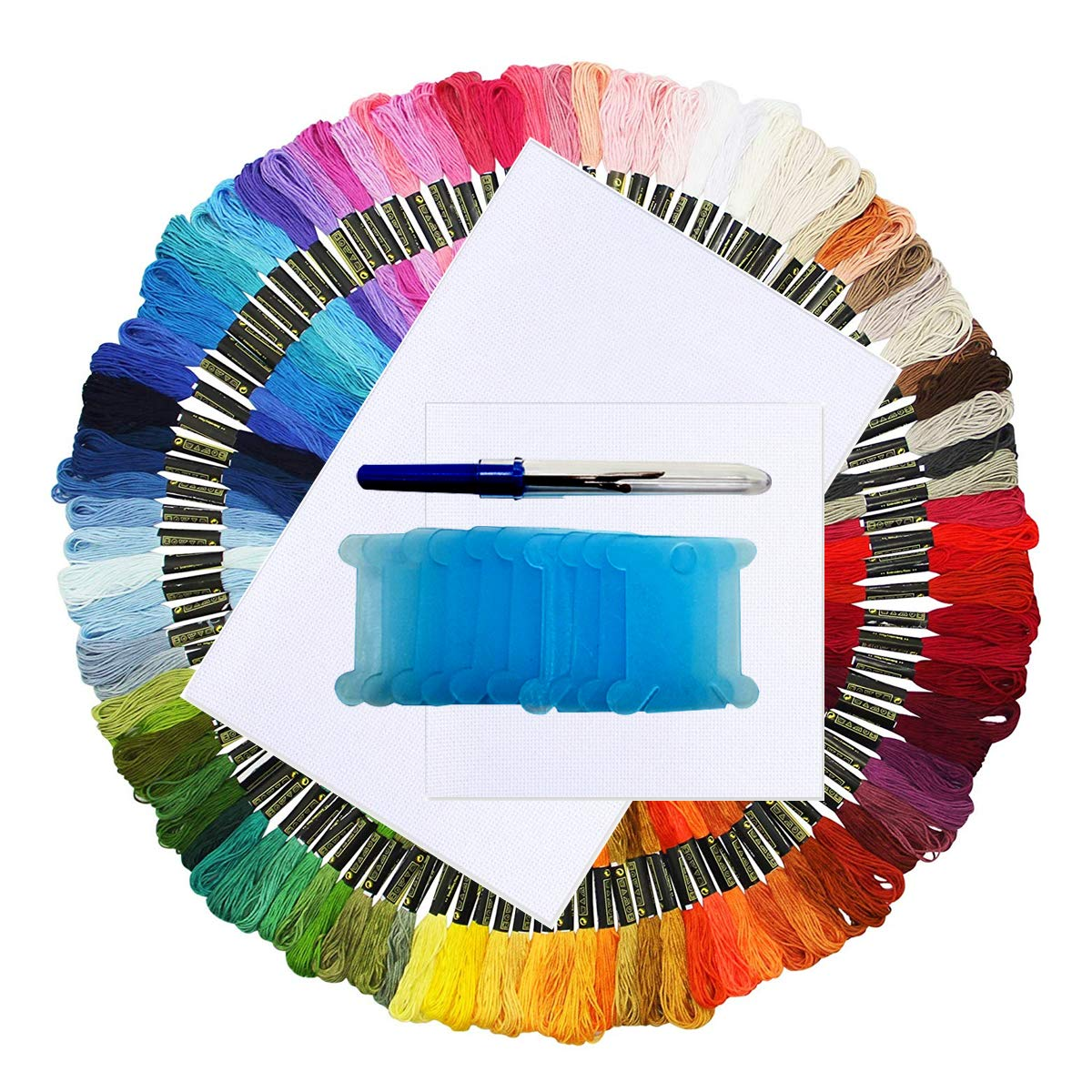 ONLM Embroidery Floss Cross Stitch Threads Rainbow Color 100 Skeins Friendship Bracelets Crafts Floss with 14 Count Aida Cloth 10 Pieces Floss Bobbins Untwist Tool 113 Pieces Embroidery Thread Kits