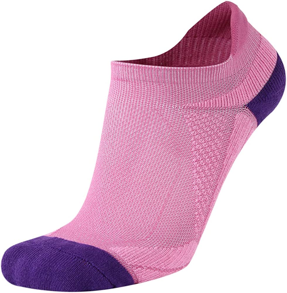LADIES QUALITY COTTON ARCH SUPPORT TAB BACK SPORTS SOCKS FLUORESCENT PINK WHITE
