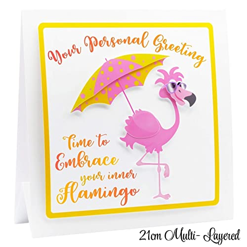 Personalised 40th Birthday Card For Women Personalised 3D Flamingo
