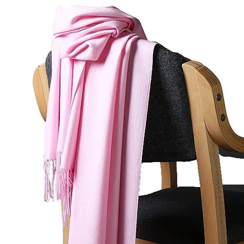 Unisexo Color Sólido Sensación De Cachemira Bufanda Estolas Chales Con Borlas(Rosa)