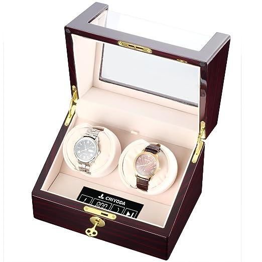 [100% hecho a mano] CHIYODA Watch Winder Caja Estuche Reloj Automático Doble Almohada con Mabuchi Motor Silencioso Pantalla LCD Digital: Amazon.es: Relojes