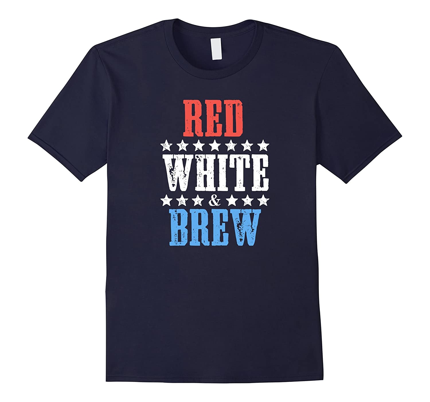 Red White & Brew Funny 4th of July Party Beer T-shirt-CL