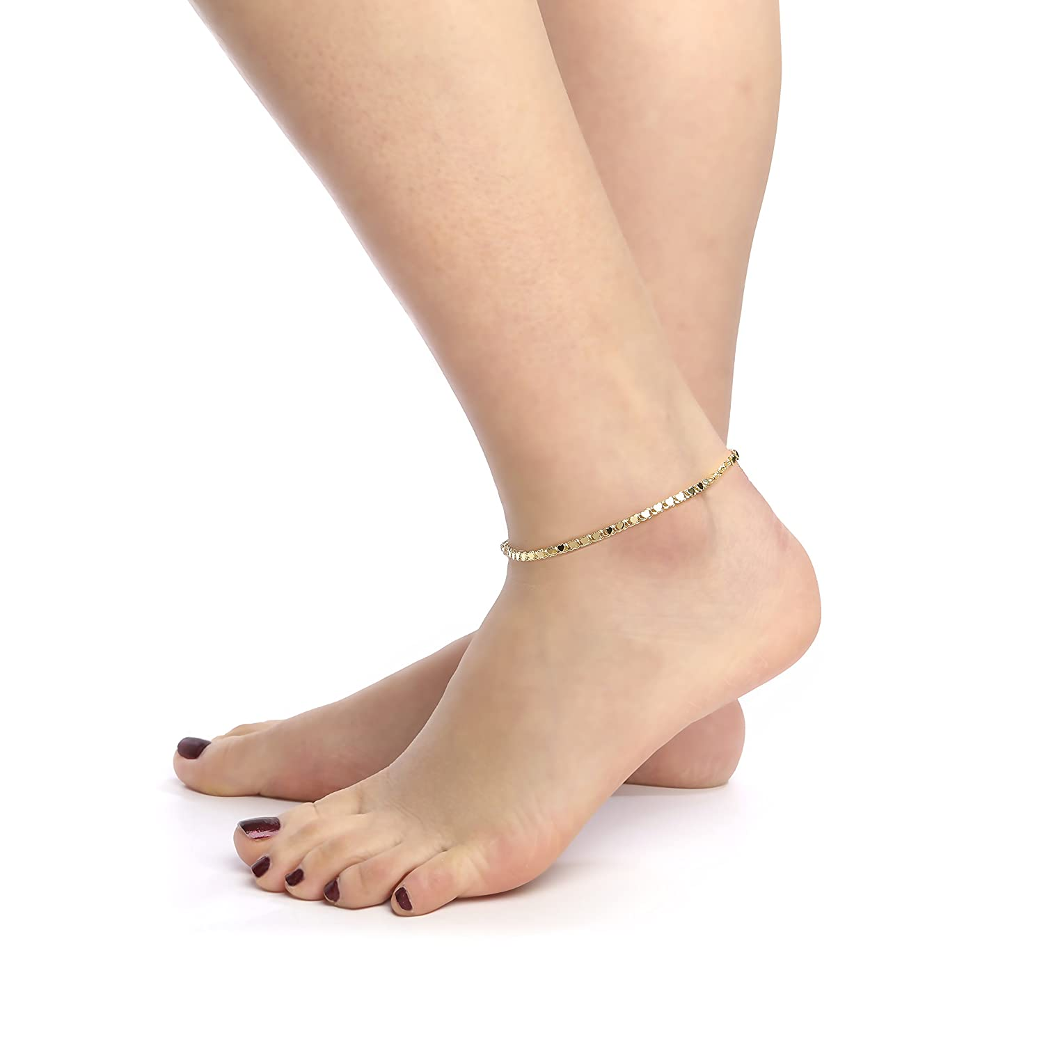 charms women anklet girls com and amazon heart with jewelry bracelet white ankle bracelets dp inch for gold