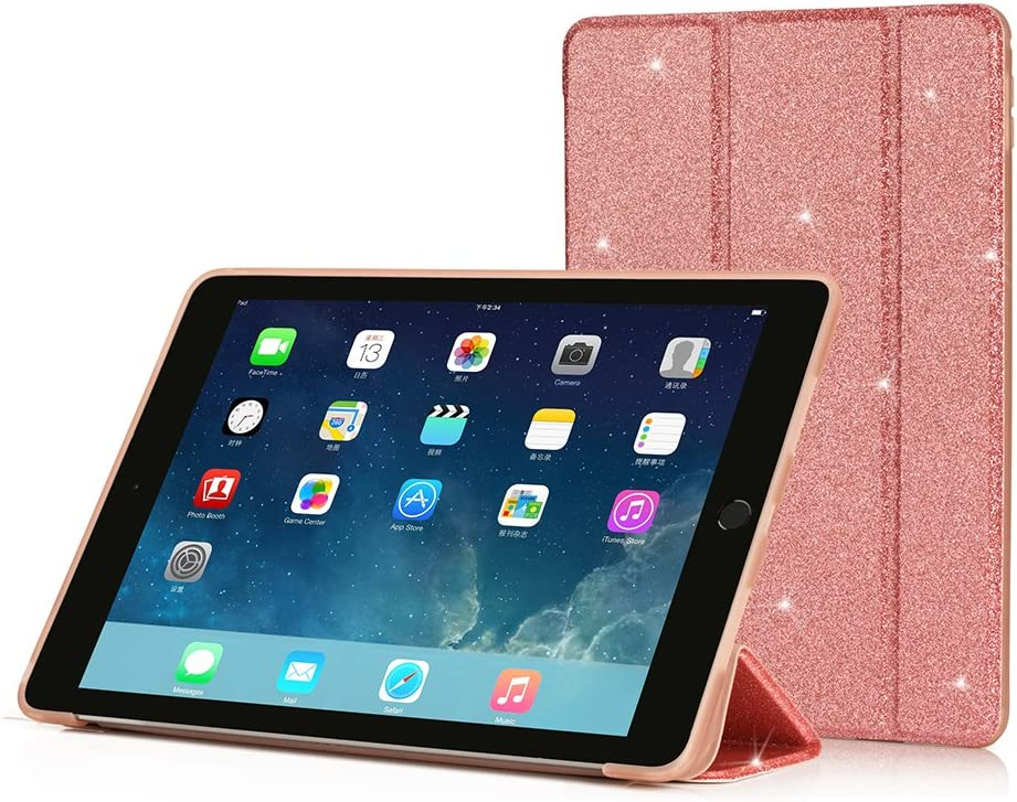 RUBAN Case Compatible with iPad Air (2013 Release) - Ultra Slim Lightweight Smart Cover Case with Anti-Scratch Non-Slip Flexible Soft TPU Back Cover with Auto Sleep/Wake, Pink Glitter