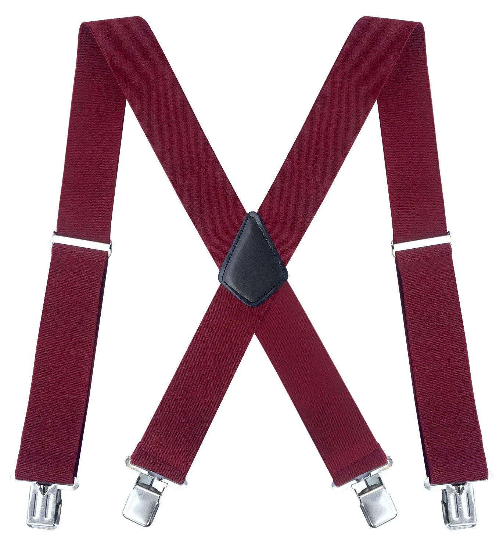 Fasker Mens Suspenders X-Back 2 Wide Adjustable Solid Straight Clip Suspenders CLO-003-1