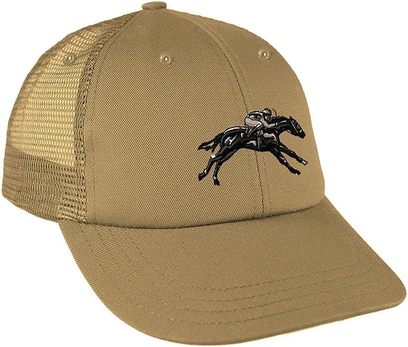 a6dcbd8aea2 Speedy Pros Jokey Horse Race Embroidery Design Low Crown Mesh Golf Snapback  Hat Khaki