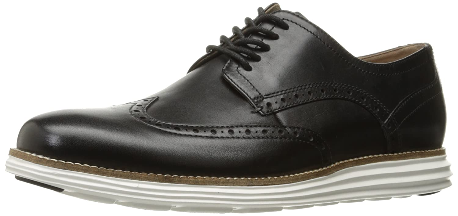 Black Leather White Cole Haan Men's Original Grand Shortwing Oxfords