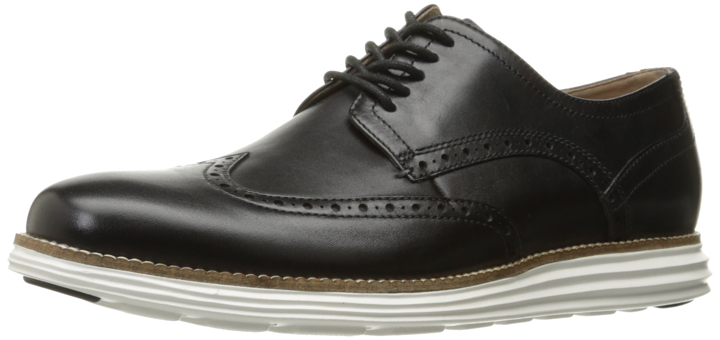 Cole Haan Men's Original Grand Shortwing Oxford Shoe, Black Leather/White, 10.5 Medium US