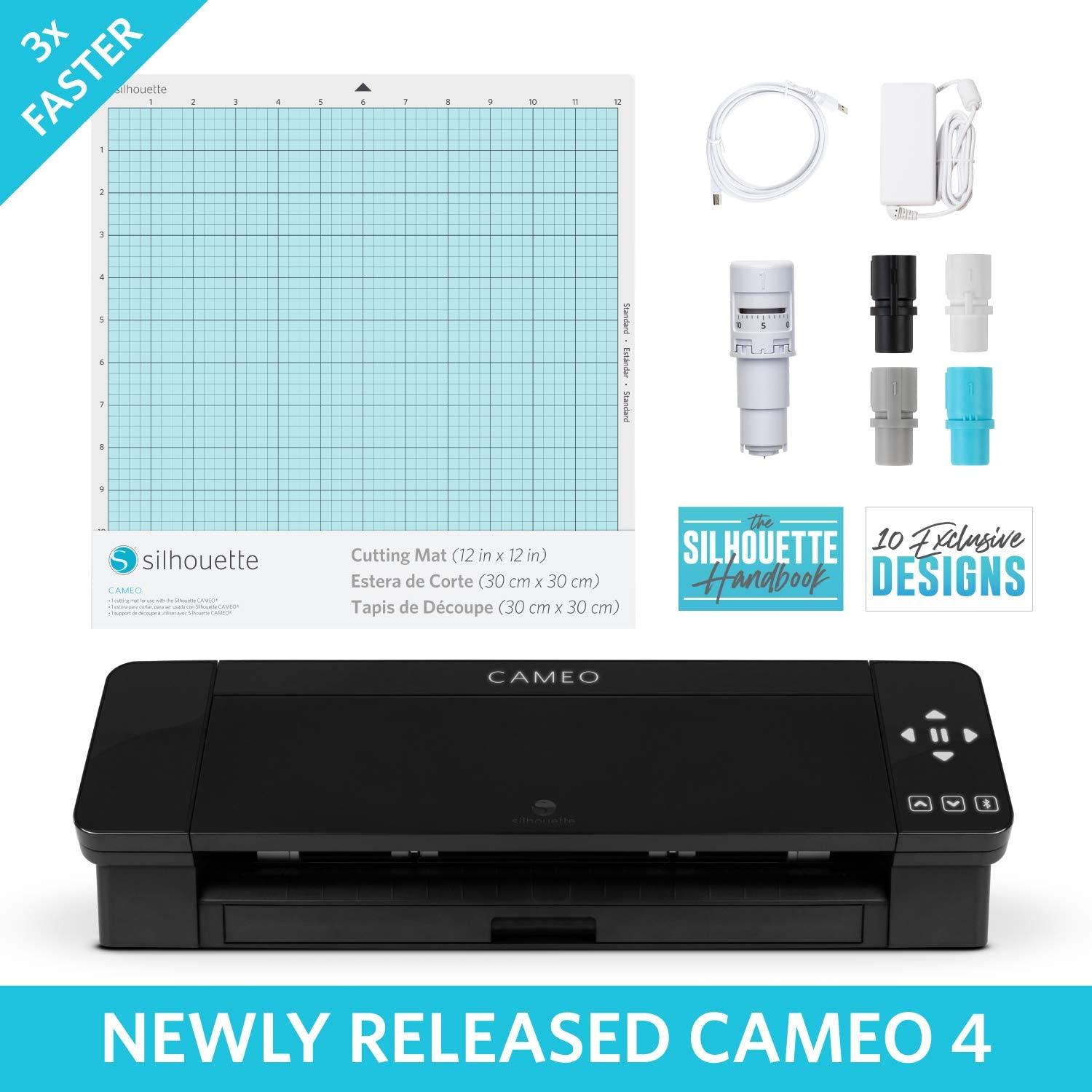 Silhouette Cameo 4 with Bluetooth 12x12 Cutting Mat 100 Designs and Silhouette Studio Software Blue Pattern Edition Autoblade 2