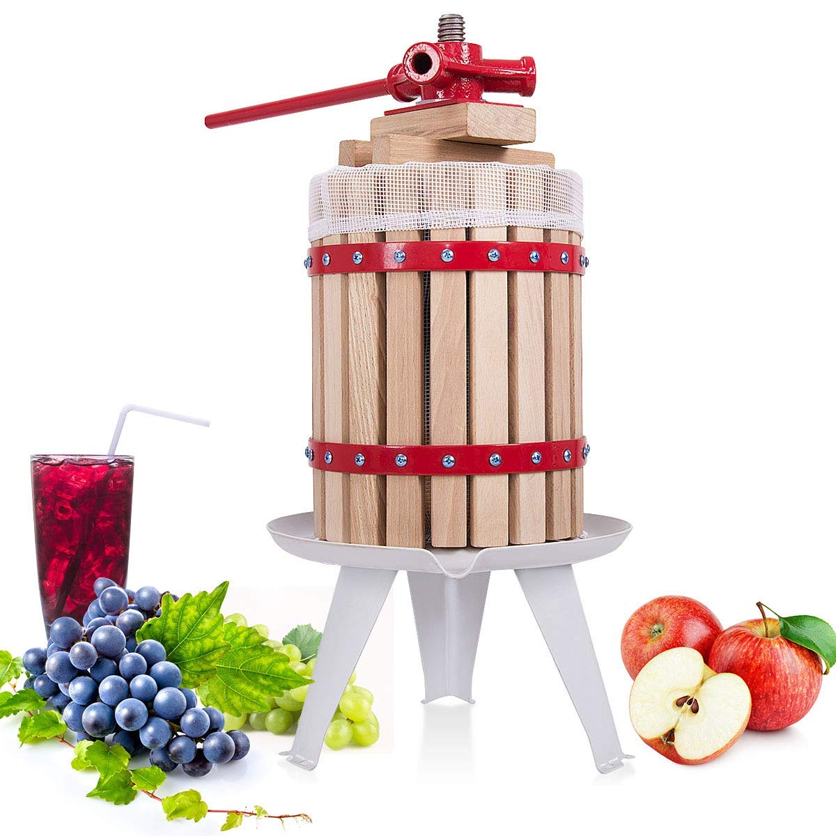 Costzon Fruit and Wine Press, 1.6 Gallon /6 Liter Solid Wood Basket, Cider Apple Grape Crusher Juice Maker for Kitchen, Energy-Saving, Easy to Assembly and Carrying (22) by Costzon