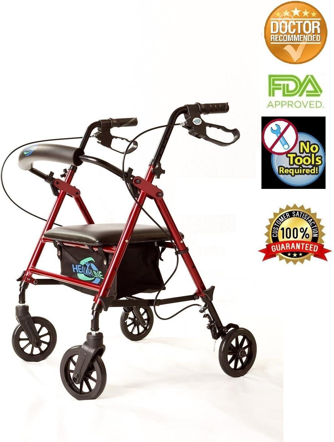 Super Light Rollator Lightweight Aluminum Folding Walker with Seat and Loop Brakes, 6