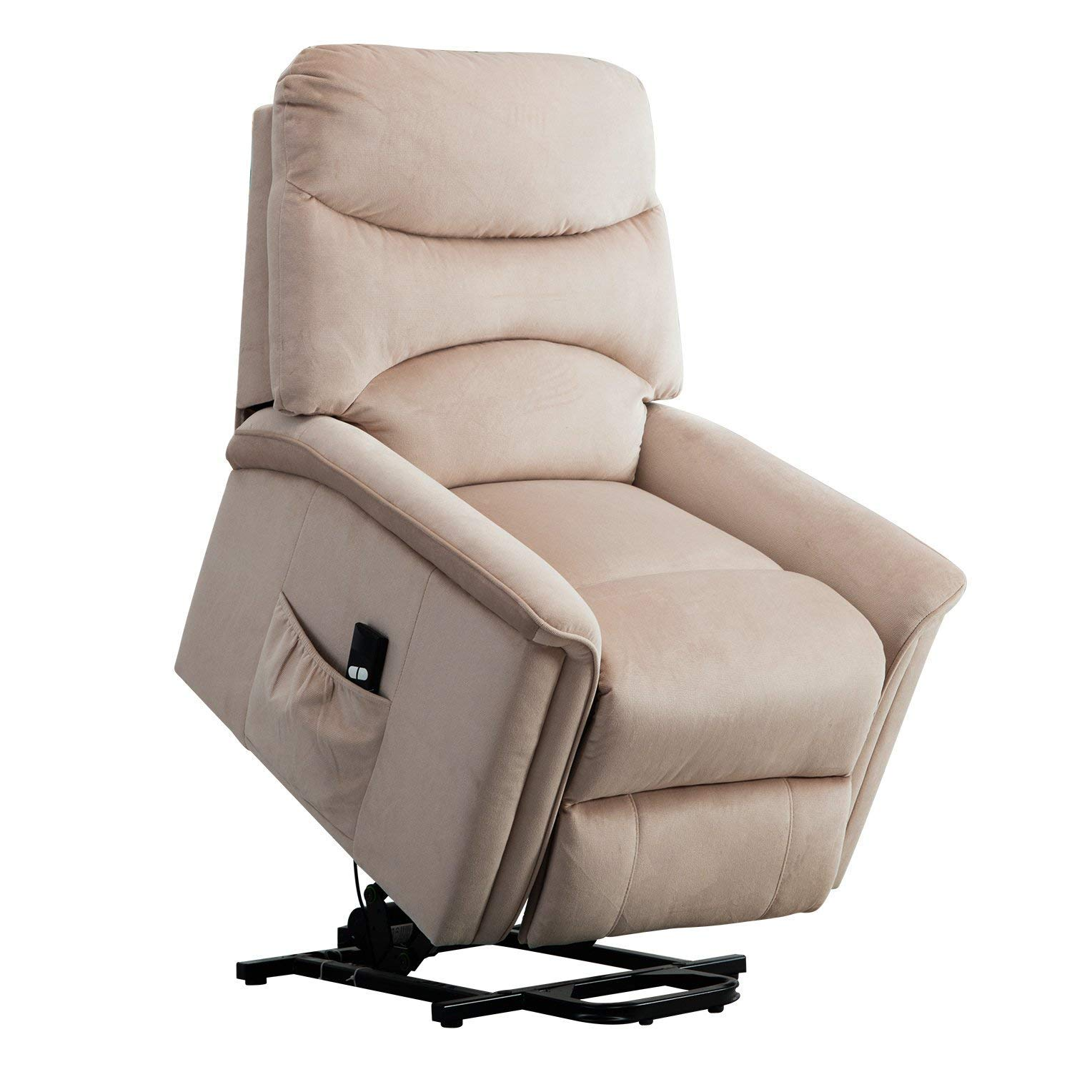 BONZY Lift Recliner Chair Power Lift Chair with Gentle Motor Velvet Cover Buff